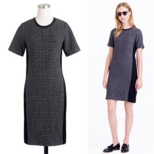 J Crew Mixed Houndstooth Dress Leather Contrast